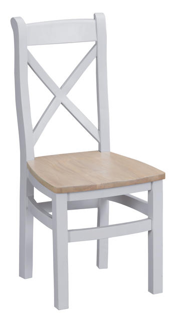 Verona Grey Cross Back Chair with Wooden Seat