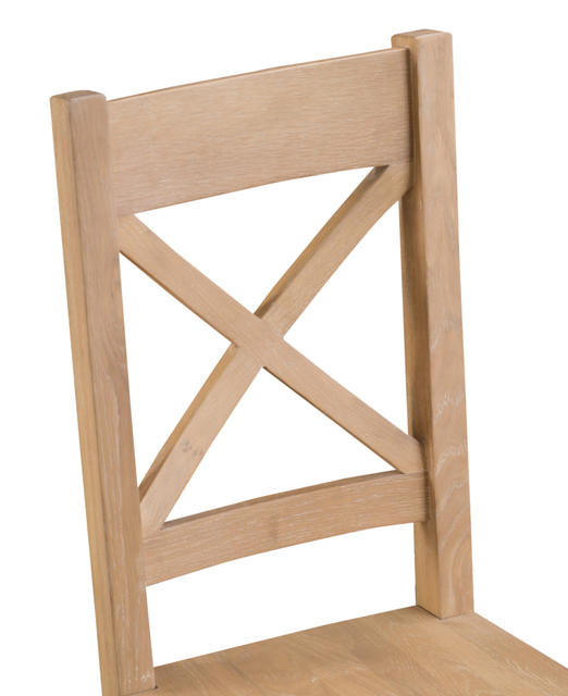 Milan Cross Back Chair with Wooden Seat