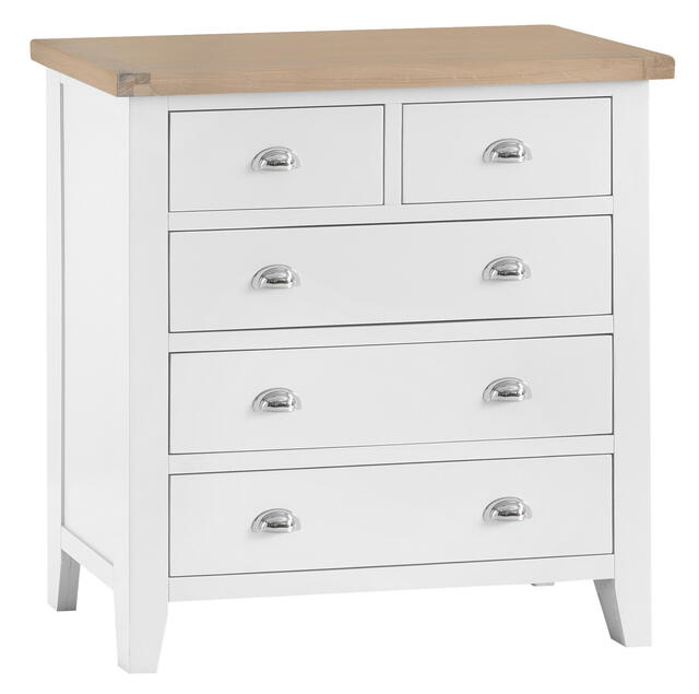 Verona White 2 over 3 Chest of Drawers
