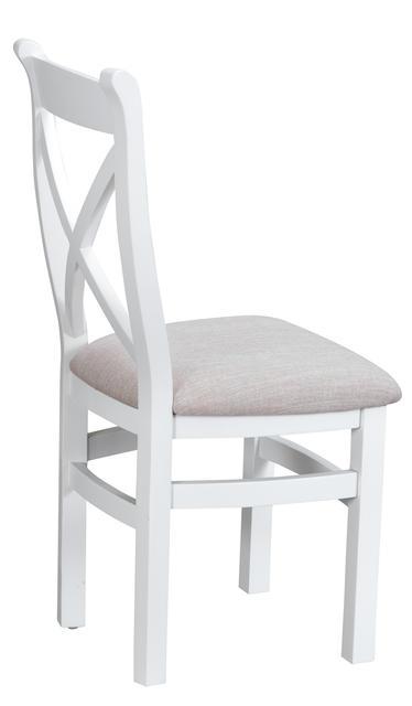 Verona White Cross Back Chair with Fabric