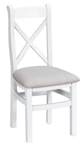 Verona White Cross Back Chair with Fabric