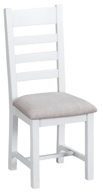 Verona White Ladder Back Chair with Fabric