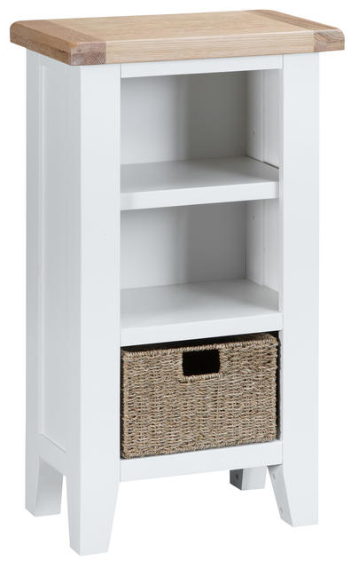 Verona White Small Narrow Bookcase
