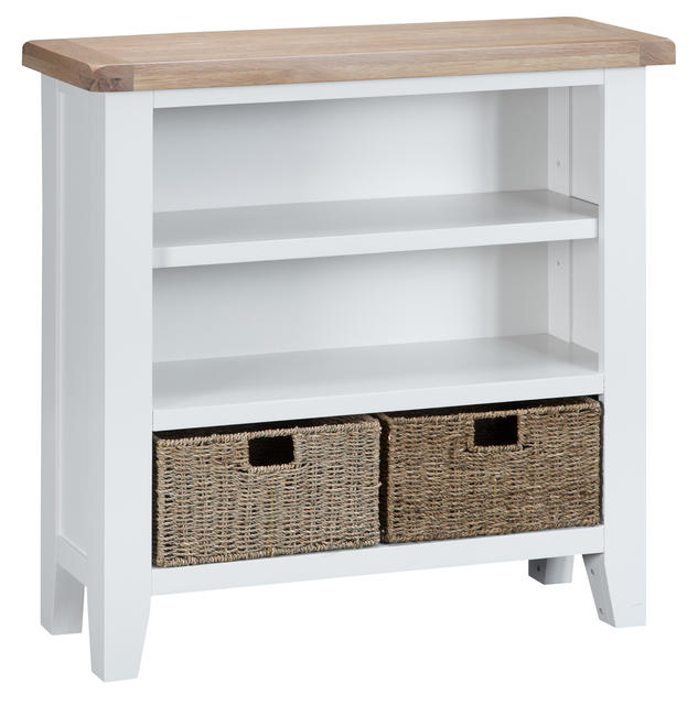 Verona White Small Wide Bookcase
