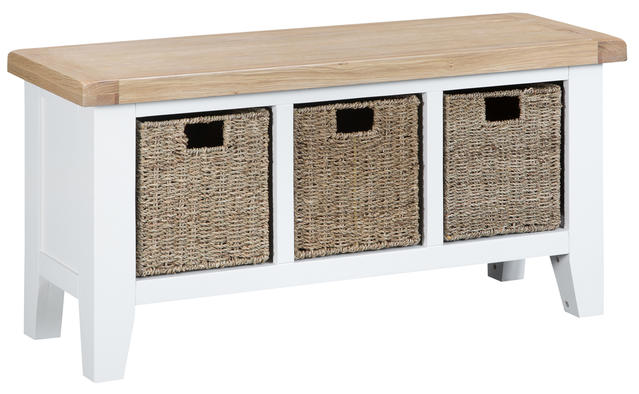 Verona White Large Hall Bench
