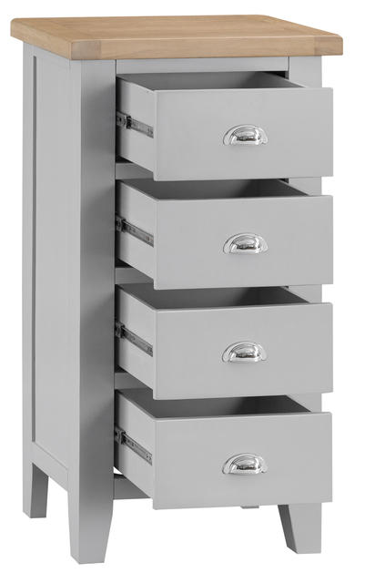 Verona Grey 4 Drawer Narrow Chest