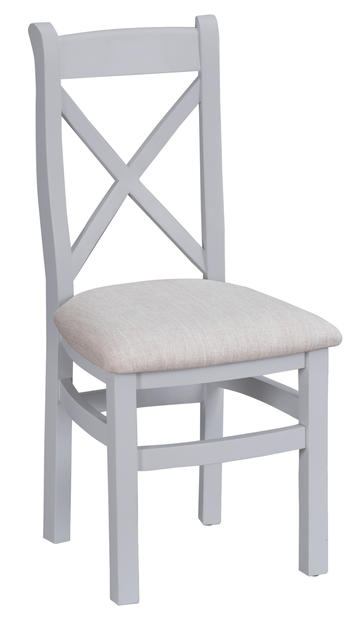 Verona Grey Cross Back Chair with Fabric Seat