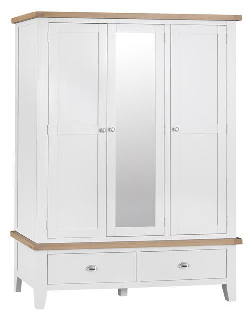 Verona White Large 3 Door Wardrobe