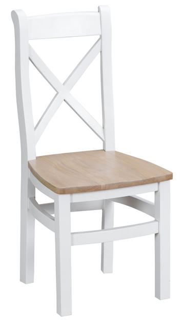 Verona White Cross Back Chair with Wooded Seat